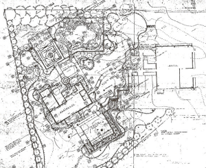 This landscape master plan illustrates entrance pergolas, lawns, terraces, car park, swimming pool, garden walks, and more.  It is a hand drawing I worked on before we had computer drafting programs.